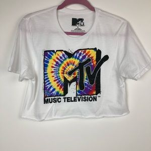 MTV tie-dye cropped graphic tee